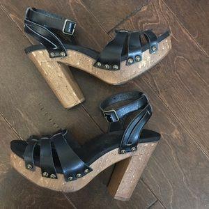 Cute studded ankle strap platform size 9